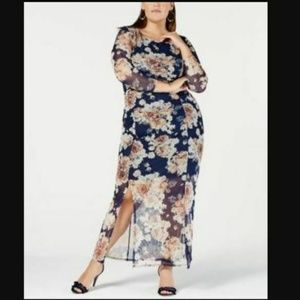 NY Collection Womens 1X I6-6  Blue Floral Ruched
